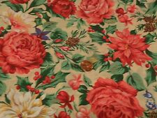 SEWING CRAFTING QUILTING FABRIC BY THE HALF YRD FLORAL CHRISTMAS PRINT 70 WIDE
