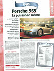 Porsche 959 1985 GERMANY DEUTSCHLAND ALLEMAGNE Car Auto FICHE FRANCE