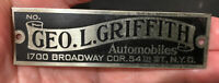 Griffith Automobile Small Advertising Sign Tag Plate New York City Vintage