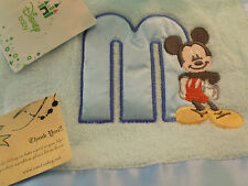 "NEW DISNEY MICKEY MOUSE BABY BLANKET BLUE "" M "" EMBROIDERED FLEECE NWT SOFT BOY"