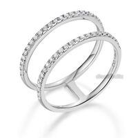 14K White Gold Wedding Ring Double Band 0.18 Ct Diamond solid 585 Fine Jewelry