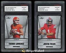 🌟2021 Trevor Lawrence & Justin Fields Leaf Silver 1st Graded 10 Rookie Card Lot