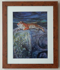 A3 Signed Print Thai Tiger on Buddha Painting by Wildlife Artist Vanessa Grundy