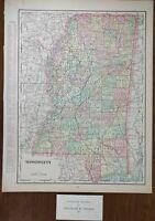 "Vintage 1901 MISSISSIPPI Map 11""x14"" Old Antique JACKSON GULFPORT SOUTHAVEN"