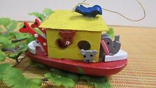 "Vintage Wood Wooden Noah's Ark Christmas Ornament 3 1/2"""