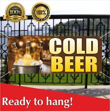 Cold Beer Banner Vinyl / Mesh Banner Sign Flag Many Sizes Fall Festival