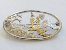 SPILLA con una piccola perla argento 925 Modernist Vintage 60er SILVER BROOCH