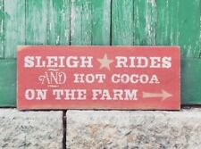 Sleigh Rides and Hot Cocoa, Farm Christmas Sign, Christmas Holiday Decor