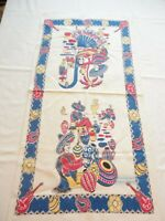 Vintage 1940's Tea Towel MEXICAN SENOR SENORITA FIESTA
