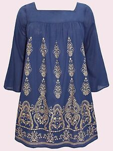 NEW Eaonplus NAVY Flared Sleeve GOLD Foil Print Loose Tunic in Sizes 18 to 32