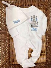 Personalised Thomas The Tank Engine Sleepsuit/Babygrow, Hat Blue Boy Newborn