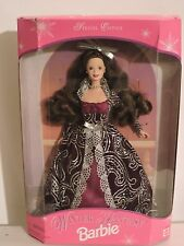 1996 Winter Fantasy Barbie Brunette Special Edition Black and Burgundy Dress