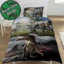 JURASSIC PREDATORS DINOSAUR SINGLE DUVET COVER SET REVERSIBLE T-REX CHILDRENS