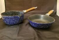 RARE VINTAGE 2 LL BEAN BLUE SPECKLED ENAMEL ON CAST IRON COOKING PANS NICE
