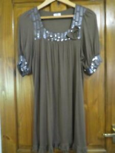 LADIES CHERRY BROWN AND SEQUINED TUNIC TOP SIZE 16 -  HOUSE CLEARANCE