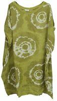 New Womens Italian Fossil Print Linen Baggy Summer Lagenlook Tunic Top Plus Size