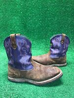 JOHN DEERE Youth Size 5M Tan Purple Brown Pull On Leather Boots JD3328 Fast Ship