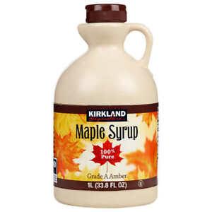 New Kirkland Signature 100% Pure (Grade A) Amber Maple Syrup, 1 Litre Bottle