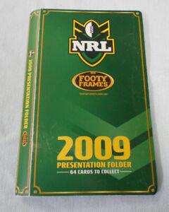 #D258.   SET OF  2009  FOOTY FRAMES NRL  RUGBY LEAGUE TAZOS IN FOLDER