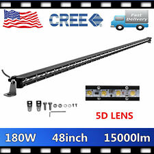 48inch 180w LED Work Light Bar Single Row Offroad Boat Jeep Truck RZR 5D Optical