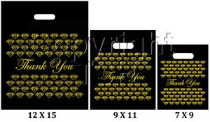 """BLACK & GOLD PLASTIC BAGS STORE BAGS JEWELRY BAGS """" Thank You """" LOT OF 100"""
