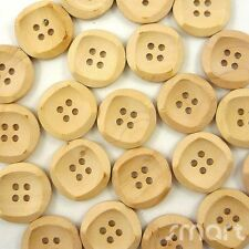 20pcs Light Brown Wood Round Buttons Lot 4 Holes Craft Sewing Cards DIY 20mm