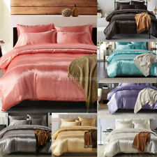 Silk Soft Satin King Queen Twin Size Quilt Cover Set Bed Sheets Bedspreads 3Pcs