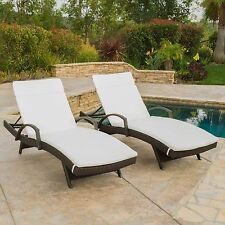 (Set of 2) Outdoor Wicker Armed Chaise Lounge Chair with Off-White Cushions