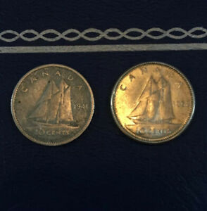 1941 & 1962 Canada 10 Cents 🍁 Canadian SILVER Dime Set 80% Silver