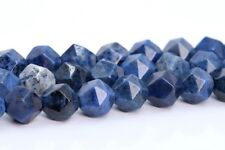 8MM Blue Dumortierite Star Cut Faceted Grade AAA Natural Loose Beads 15""