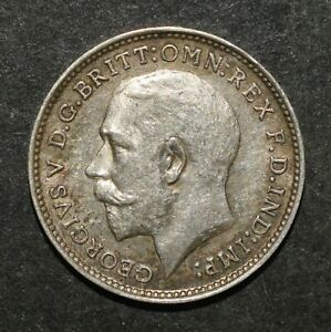 1912 SILVER THREEPENCE. GEORGE V BRITISH SILVER COIN. KEY DATE