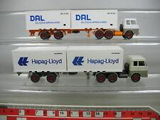 AF258-0,5# 2x Wiking H0 Container-Lastzug/LKW Hanomag Henschel: DAL+Hapag-Lloyd