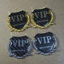 2PCS Silver + 2PCS Golden VIP MOTORS Carbon Fiber Metal Emblem Badge Sticker 3D