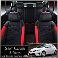 Black Red 5 seats PU Leather Seat Covers to suit Toyota Corolla 2012-2018