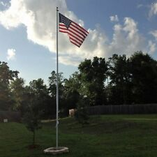 25 ' FOOT SECTIONAL ALUMINUM FLAGPOLE, HOLDS 2 FLAGS, Gold Ball & USA flag:20 30