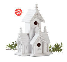 New listing White Wood Victorian Style Freestanding Birdhouse 4 Entries Distressed Finished