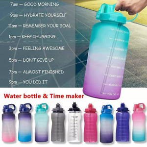 2021 64OZ Gallon Motivational Water Bottle with Time Marker & Straw-BPA Free Da
