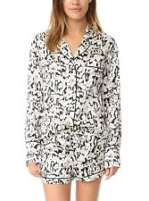 NWT Olivia Von Halle Alba Delphine Pajamas Silk Set Shirt/Short Black&White $400