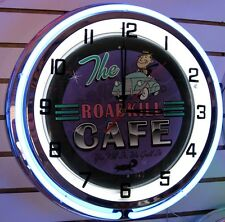 """The Roadkill Cafe You Kill It We Grill It  Large 18"""" Neon Clock - BEAUTIFUL!!!"""
