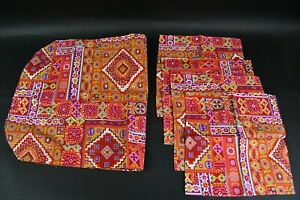 5 Pc. Multicolor Abstract Fabric Table Linen Set W/58 In. Runner & 4 Napkins