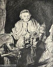 GRAVURE 1886 Femme au rouet Rembrandt Carl Probst Imp. A. Clement 20x16cm L'Art