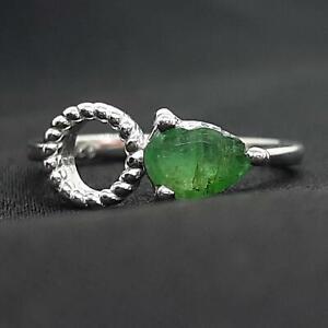 Genuine .80ctw Colombian Emerald & Diamond Cut White Sapphire 925 Silver Ring