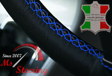 FOR FORD TRANSIT MK7 06-10 BLACK LEATHER STEERING WHEEL COVER WITH BLUE DBL ST