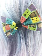 Geeky Game Boy Colourful Fabric Small Hair Bow - Gamer Hair Clip