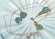 10K Blue Topaz Hearts Necklace Earring Ring 3 pc Set Yellow Gold New Tags