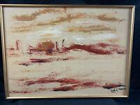 "Vintage Mid Century Salette Q Framed Oil On Board ""Ruinas"" Painting Signed"