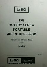 Le ROI 175 Rotary Screw Air Compressor Owner, Parts & Engine (4 Manual s) 306pg