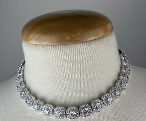 """GLd Clustered Tennis Necklace in White Gold 16"""""""