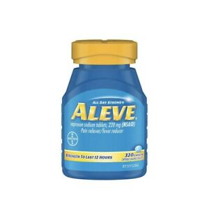 Aleve Naproxen Sodium 220 mg. Pain Reliever/Fever Reducer, 320 Caplets Exp-06/22