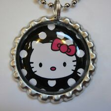 Beautiful HELLO KITTY POLKA DOTS Bottle Cap Necklace 1A